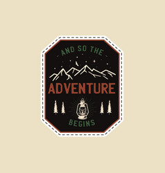 vintage camp patches logo mountain badge hand vector image