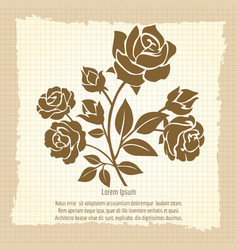 Vintage poster with bush roses vector