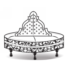 Vintage round sofa ornamented vector