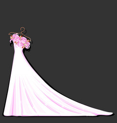 watercolor wedding dress decorated with lily vector image