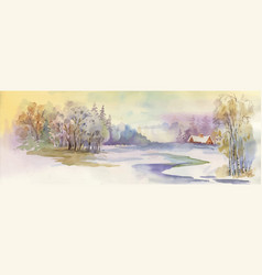 Watercolor winter landscape vector