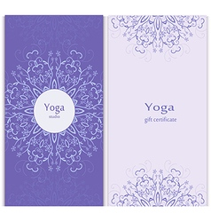 Yoga gift certificate template vector image