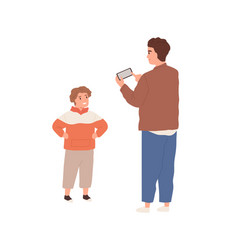 Young dad holding phone and taking mobile photo of vector