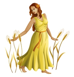 Young girl with ears of wheat vector image