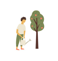 young man watering apple tree garden works concept vector image