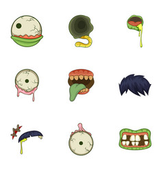 Zombie body part icons set cartoon style vector