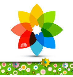 colorful flower symbol with flowers on garden vector image vector image
