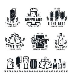 Craft beer brewery emblems barley vector image