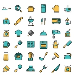 flat line kitchen and cooking icons set vector image vector image