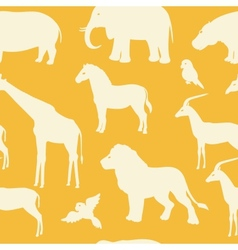 Seamless pattern with african animal silhouettes vector image vector image