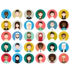 Set of diverse round avatars vector image