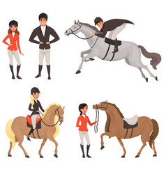 set of jockeys and horses in different actions vector image vector image