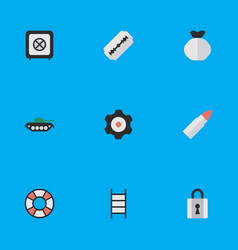 set of simple crime icons vector image