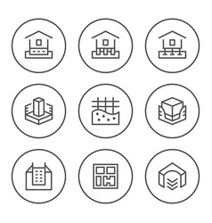 set round line icons of house foundation vector image