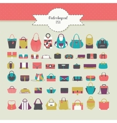 Big beautiful bundle with flat women bags in vector image vector image