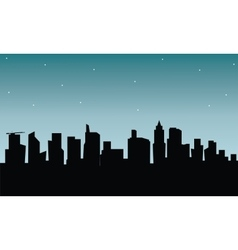Building silhouette at the night vector image