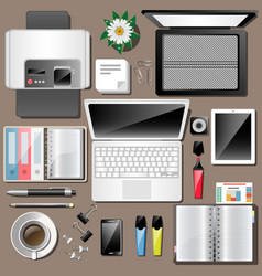business workplace top view work accessories vector image