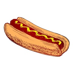 Colored hand sketch hot dog vector image vector image