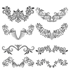 Design ornamental elements set Floral tattoo in vector image