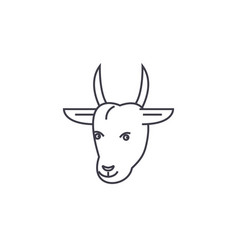 goat head line icon sign on vector image