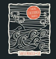 Retro california summer beach surf t shirt vector