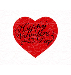 valentine s day red heart with a congratulatory vector image