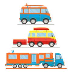 cartoon transport set van with surfboard van vector image