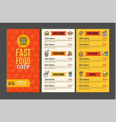 fastfood and street food menu cafe vector image