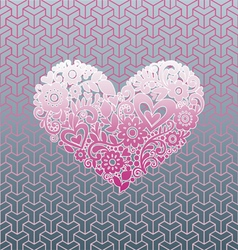 Love shape Graphic with pattern background vector image vector image