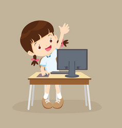 student girl learning computer hand up vector image vector image