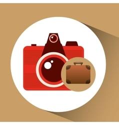 Suitcase vintage camera photograpy travel concept vector