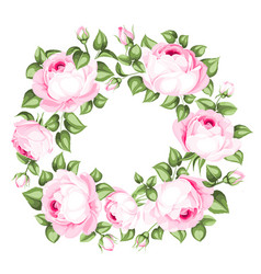 awesome garland of blooming roses vector image