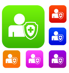 person and medical cross protection shield set vector image vector image