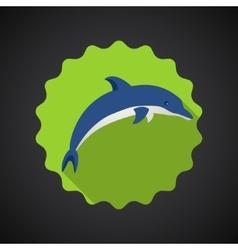 Summer Travel Sea Dolphin flat icon vector image