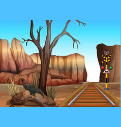 Train track through the canyons vector