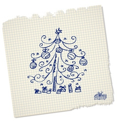 vintage christmas tree with gifts vector image