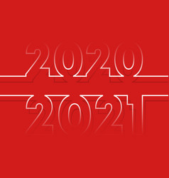 2020 to 2021 new year minimal line design vector image