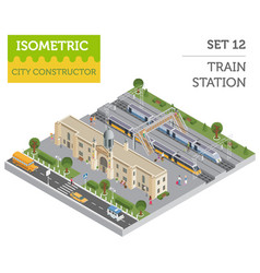 3d isometric train station and city map vector image