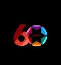 60 year anniversary diamond star template design vector