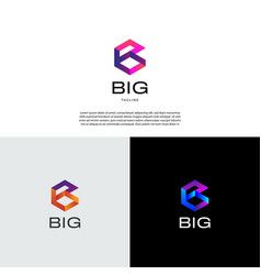 abstract initial letter b shape logo design vector image