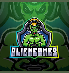 Alien games esport mascot logo vector