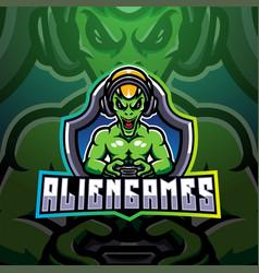alien games esport mascot logo vector image