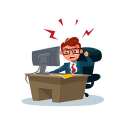 Angry business man working on computer sit vector