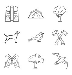 animal watching icons set outline style vector image