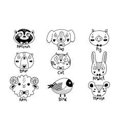 Avatars funny animal faces raccoon dog pig bear vector
