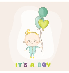 Baby boy with balloons - shower vector