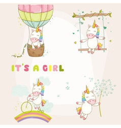 Baby unicorn set - baby shower or arrival card vector