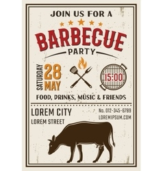 Barbecue party retro style poster vector