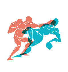 Boxing match silhouette of professional boxer vector