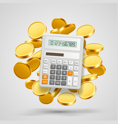 Calculator with coins in the background vector